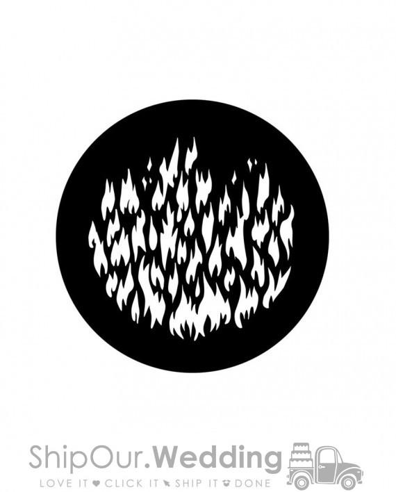 steel gobo breakup fire flames